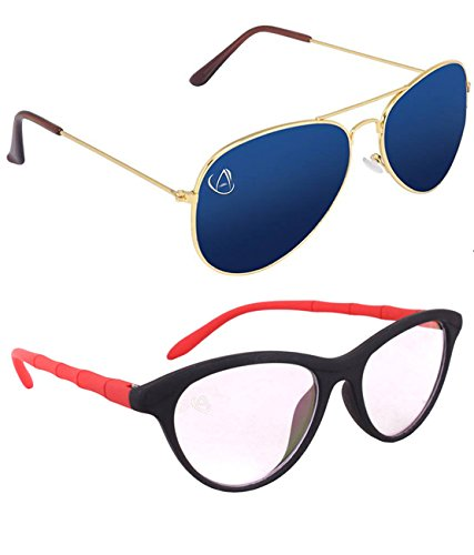 Aventus Combo of Mirrored Blue Aviator and Clear Red Cateyes Sunglasses for Women -free size
