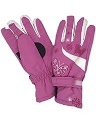 Arcweg Kids Ski Gloves Girls Skiing Hiking Waterproof Adjustable Velcro Cartoon Butterfly Warm Winter Outdoor for Children Age 4-10
