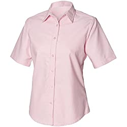 Henbury- Camisa clásica Oxford de manga corta para mujer (Extra Grande (XL)/Rosa)