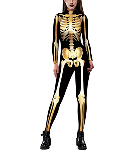 DuuoZy Frauen 3D Skeleton Digital Print Catsuit Spielanzug Overall Cosplay Fantastisches Kostüm Kleid , m , gold