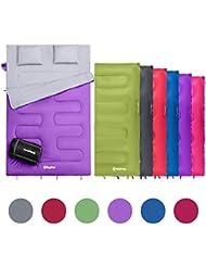 KingCamp Oxygen doble saco de dormir con almohadas 3 Season extra grande Queen saco de dormir para acampar senderismo viajan interior y exterior