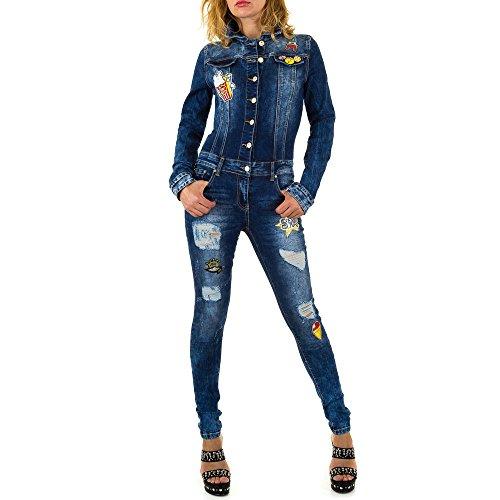 Ital-Design Jumpsuit Destroyed Jeans Overall Für Damen, Blau In Gr. S