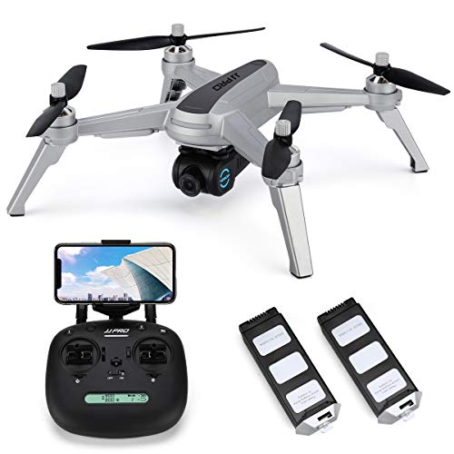 JJRC JJPRO X5 Wifi GPS Drohne mit 1080P HD Kamera Live Video und GPS Automatische Zurückkehren Quadrocopter mit Bürstenlosen Motor & 90 Einstellbare Kamera, Langer Regelbereich, Höhe halten (Grau)