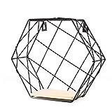 CDKJ Eisen Wandregale Organizer hexagonale Gitterwandlagerregal Holzlagerhalter hängende Wanddekorationen Metallgitter Wohnzimmer Schlafzimmer Demo Regiment 29,5 * 25,5 * 10,5 cm