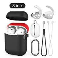 AhaStyle 8 in 1 AirPods Accessories Set,Ultra Thin Silicone AirPods Case Cover, Ear Hooks Cover, Anti-lost Strap,Caribiner,Silicone Lanyard and Pouch for Apple AirPods (Black/Red)