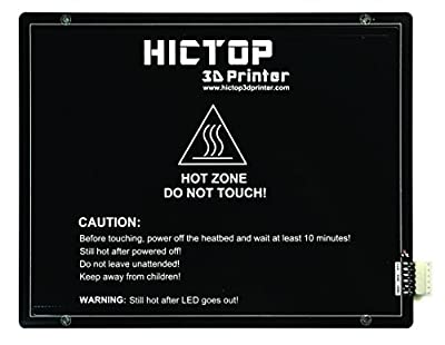 HICTOP 275 x 220mm MK3 Aluminium Beheizte Bed Hot Bed PCB Heatbed Plattform für Reprap 3D-Drucker 250W 24V + Wiring