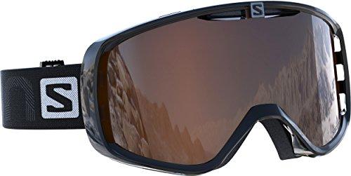 Salomon, maschera da sci unisex, per portatori di occhiali, tempo variabile, visiera arancione con effetto flash (intercambiabile), sistema airflow, aksium access, nero, l39084300