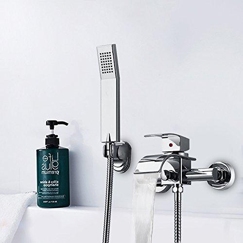 Hausbath Badewanne Armatur Badewannen- & Duschsysteme Duscharmatur Wasserhahn inkl. Wandhalterung mit Handbrause für Bad Badezimmer Dusche