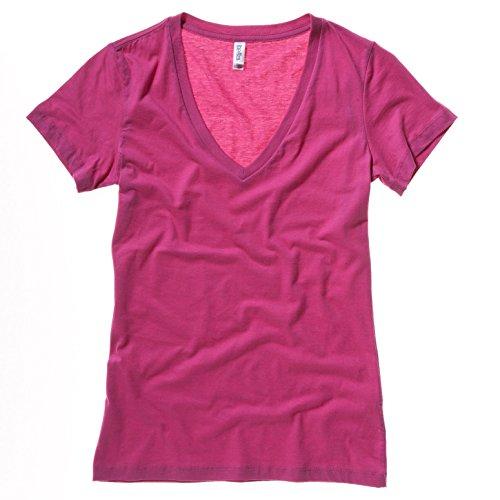 Bella Leinwand 6035 Damen Jersey-T-Shirt mit tiefem V-Ausschnitt Rot - Berry