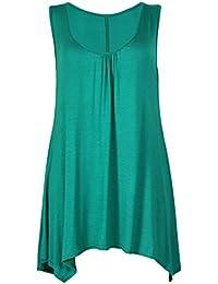 Purple Hanger - Top uni Col rond sans manche en tissu extensible Femme - Grandes tailles