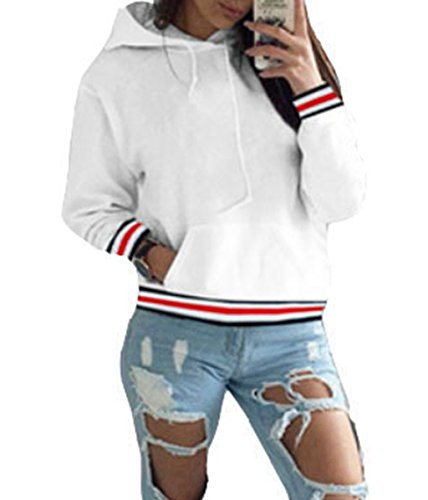 ASSKDAN Femme Chic Sweat-shirt à Capuche Sweater Uni Manche Longue Pull-over Automne- Hiver New (S, Blanc)