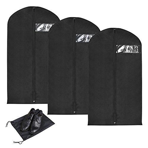 YISSVIC 3pcs Housse de Vêtements 110cm × 60cm Portable pour Costume et Robe avec Une Housse de Chaussure YISSVIC
