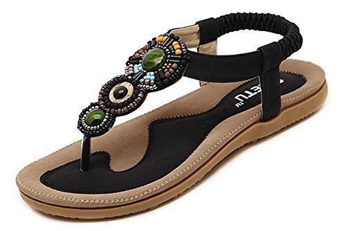YEEY Women's Round peep toe t-strap Boemia romana sandali Summer Beach Post sandali infradito scarpe piatte infradito Black