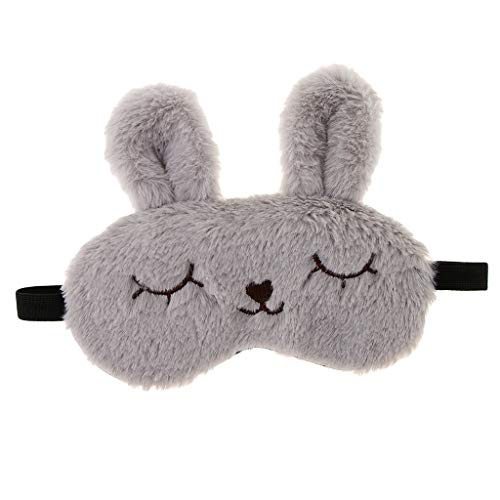 Baoblaze Kinder Erwachsene Plüsch Bunny Rabbit Schlafmaske Eye Shade Cover Blindfold - Grau (Plüsch Häschen Kind Kostüme)