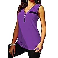 CRYYU Womens V Neck Casual Tassels Slim Sleeveless Plus Size Tank Top Cami Blouse Shirt Purple XXS