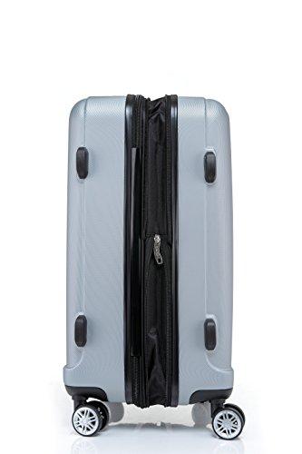 2080 TSA-Schloß Zwillingsrollen 3 tlg. Reisekofferset Koffer Kofferset Trolley Trolleys Hartschale in 12 Farben (Silber) - 7