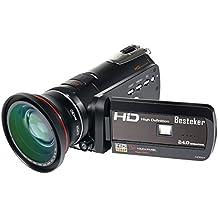 Videocámara, cámara de vídeo Besteker HDMI 1080P FHD Digital infrarrojos de visión nocturna zoom 18X función de WIFI 30 FPS con pantalla táctil y 72mm objetivo gran angular (HDV-D395)
