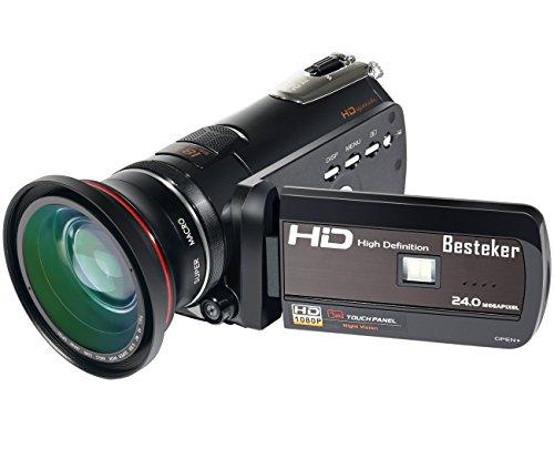 Kamera Camcorder, Besteker HDMI 1080P FHD Digitale Videokamera Infrarot-Nachtsicht 18X Digitales Zoom WIFI-Funktion 30FPS mit Touchscreen und 72mm Weitwinkelobjektiv (HDV-D395)