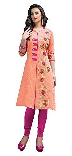 Jayayamala-Excellente-couleur-orange-Kurti-fabriqu--partir-de-tissu-de-coton-en-soie-avec-une-robe-en-tunique-3-4me-manches-42