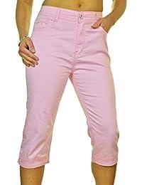 ICE (1510-8) Pantacourt en Jeans Extensible avec Diamante Rose Pâle Grande Taille