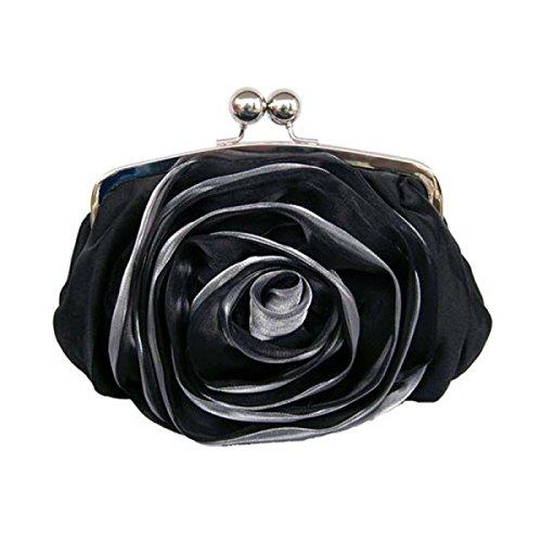 Signora Borsa Da Sera Moda Seta Fiore Rosa Borsa Borsa Nuova Borsa A Tracolla Fibbia Magnetica Black