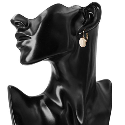 Yoursfs Vintage Damen Ohrclips Rote Oval Opal Klipp Ohrringe mit 18K Rosegold Vergoldeteund Groß Perle für Damen Frauen Mädchen - 5