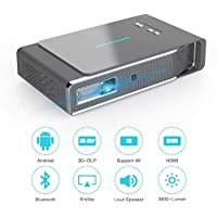 Video Projector 3D DLP 1080P HD 3800 Lumens Wireless Screen Mirroring for iPhone iPad iOS Android Bluetooth 4.0 Keystone Correction HDMI/TF/USB with Free 3D Glasses