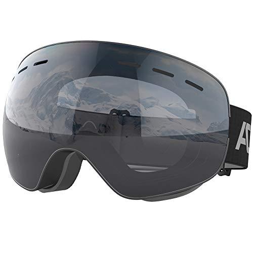 ACURE SG01 Maschere da Sci - Maschere da Snowboard Senza Cornice OTG Senza Telaio, Doppia Lente con Protezione antiappannamento e Protezione UV400 per Uomo, Donna e Gioventù (Nero)