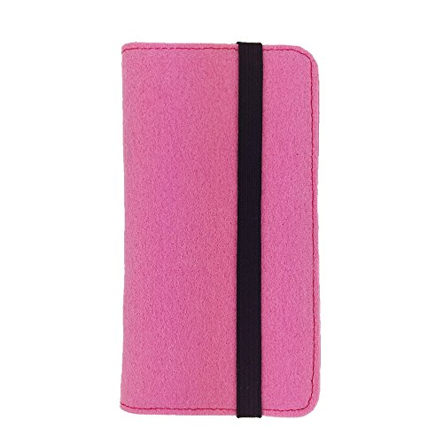 handy-point Universell Organizer für Smartphone Tasche aus Filz Filztasche Filzhülle Hülle Schutzhülle mit Kartenfach für Samsung, iPhone, Huawei (Bis 5,2 Zoll max 14,7x7,3cm, Pink)