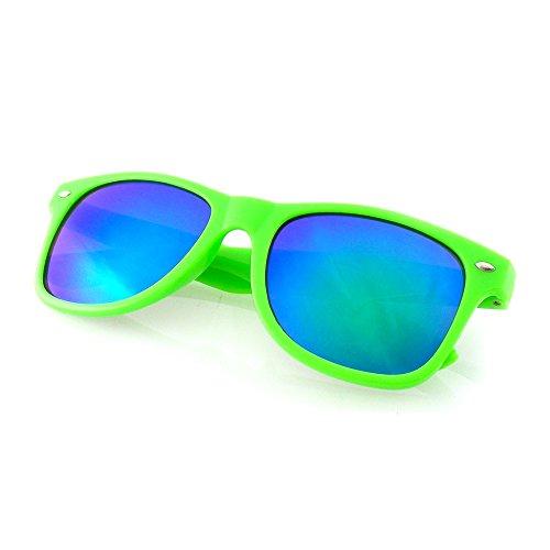 Emblem Eyewear - Flash Farbe Spiegel reflektierende Linse Neon Sonnenbrille (Grün)