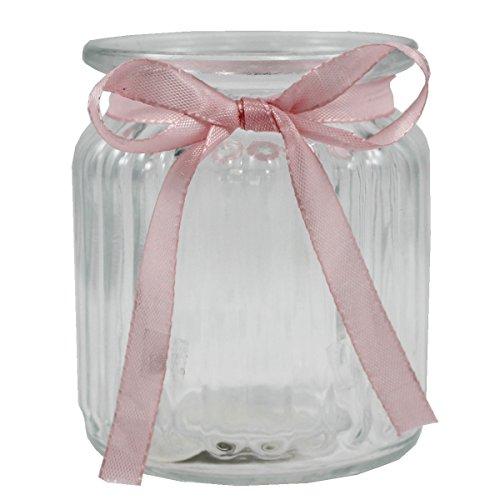 Annastore 12 x Windlichter Lilith geriffelt + Gratis rosa Dekobänder, H 9 cm