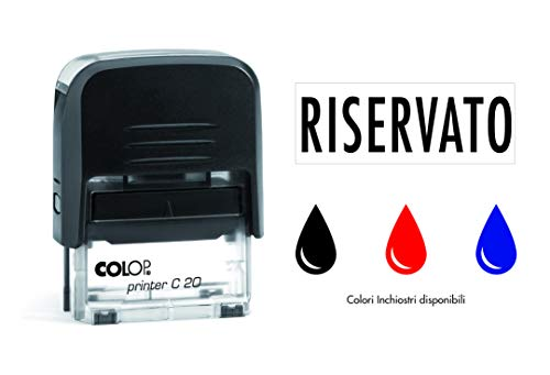 Timbro RISERVATO Autoinchiostrante Pronto all'uso con Testo personalizzato Modello Colop Printer C 20 Commerciale Ufficio Scuola Lavoro Inchiostro disponibile in 3 colori (ROSSO)