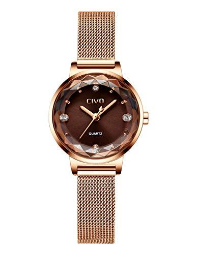 fe0a29b0c7ff CIVO Relojes para Mujer Reloj Damas de Malla Impermeable Minimalista Oro  Rosa Elegante Banda de Acero