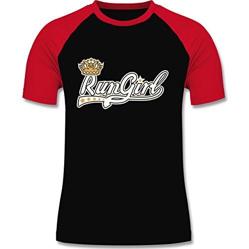 Laufsport - Run Girl - zweifarbiges Baseballshirt für Männer Schwarz/Rot