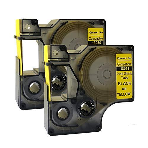 NEOUZA 18056 S0718310 Kompatibel für DYMO Rhino IND Pro Industrial Schrumpfschlauch-Kabeletiketten Etikett Tube Länge 1.5m Schwarz auf Gelb 12mm (2) EINWEG