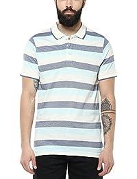 American Crew Men's Polo Stripes T-Shirt (Off White, Blue & Sky Blue)
