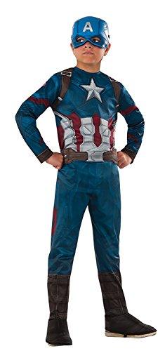 üm für Kinder - Avengers 128/140 (8-10 Jahre) (The Avengers Captain America Kostüm)