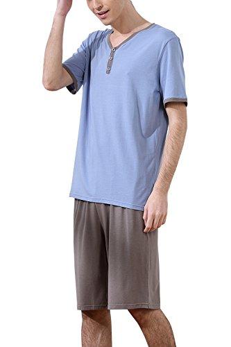 Dolamen Herren Schlafanzug Kurz , gemütlich Zweiteiliger Pyjamas in Frühling Sommer, 100% Baumwolle, Herren Sportanzug Schlafanzug Pullover mit Kurz Ärmel & Hose L XL XXL Blau