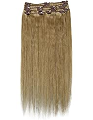 """SUNMAY Remy Clip in Human Hair Extensions - Full Head of 20"""" inch human hair -High Quality Remy Hair (#18 Dark Ash Blonde) ZMD-20-18"""