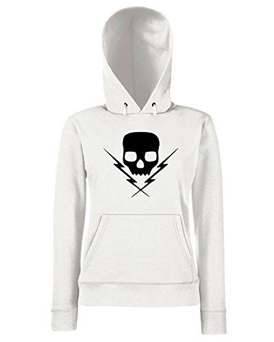 T-Shirtshock - Sweats a capuche Femme FUN1162 death by stereo skull band vinyl decal stickers 61791 Blanc