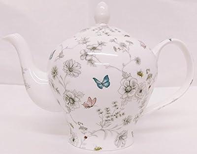 Rainbow Decors Ltd Secret Garden Théière en Porcelaine Anglaise Motif Fleurs et Papillons et Abeilles Décorée à la Main au Royaume-Uni 1 l