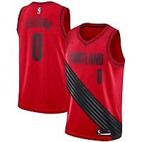 NBA Blazers Lillard 0 Swingman Men Jersey Hombres (Rojo, XL)