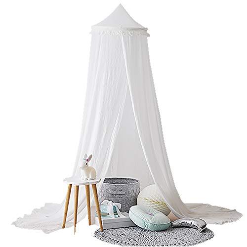 tthimmel - Runde Kuppel Moskitonetz Burg Spielzelt mit Quasten hängen Haus Dekoration Leseecke für Kinder Mädchen Zimmer,White ()