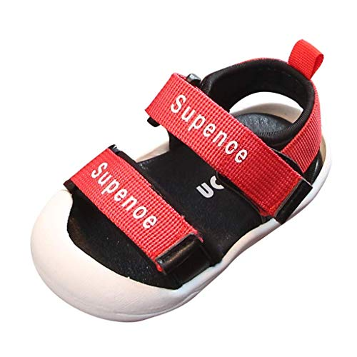 CixNy Kleinkind Kind Baby Jungen Sommerschuhe Damen Sommer Kinderschuhe Soft Sohlen Elegante Vintage Flats Bequem Mode Brief Coole Schuhe Sandalen Schwarz Rot Pink Gr.15-25 (Rot Elfen Schuhe)