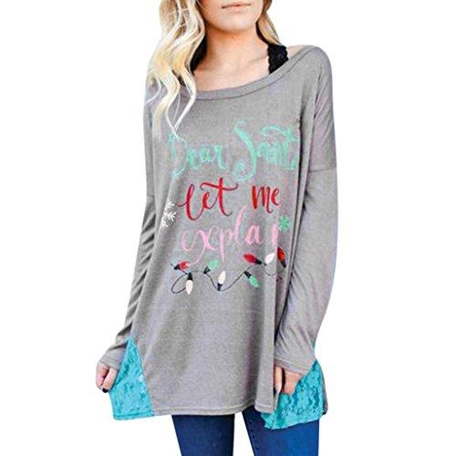 Damen Sweatshirt, Hmeng Frauen Weihnachten Prints Langarm Pullover Shirt Spitze Patchwork Tops Bluse Lässig Langarmshirt für Schwangere Frauen Übergröße (Grau, XL)