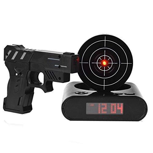 chaldäisch-Katholischer Gun Target Wecker, Gun Wecker Shooting Target Spielzeug für Erwachsene und Kinder, Gewehr, Uhr schwarz - Target Shooting Kunststoff