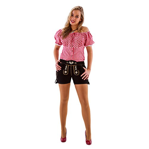 NEU Damen-Trachtenhose aus Leder kurz,schwarz,Gr36