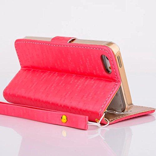 Vandot Tasche für iPhone 5C Hülle mit Kartenfächern Leder Flip Case Cover Luxus Bling Shining Diamant Schutzhülle für iPhone 5C Handy Schutz Schale Bumper + 1X Micro USB Kabel + 1X Anti Staub Stöpsel  Rot
