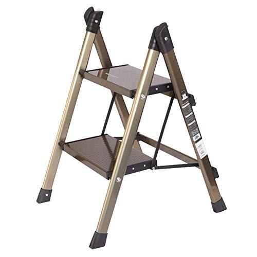 S&RL Schuhe Sitzhocker Aufbewahrung Moderne Mode Hocker Folding Haushaltsleiter Ultradünne Aluminium Leiter Hocker Rack Multifunktionale Hocker, Gold, 47,5 * 67 * 88 cm -
