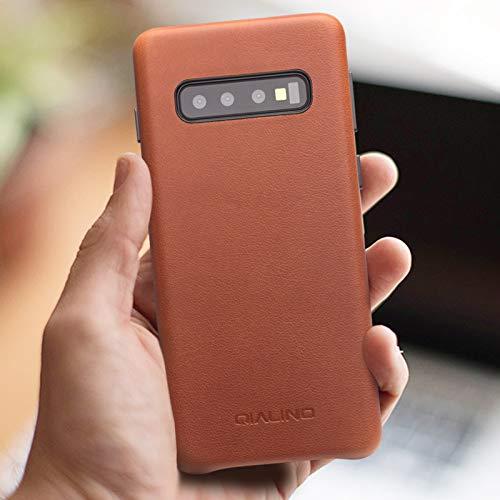 COVO® Coque Samsung Galaxy S10 Plus,Coque arrière pour Affaires Classique,Fait à la Main Etui Premium en Cuir de Vache Coques arrière pour S... 10